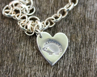 Woodland hedgehog heart bracelet, pet hedgehog, pygmy hedgehog, woodland gifts, wildlife lovers gift, save wildlife gift, nature lover gift