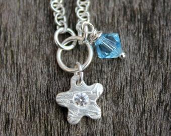 March birthstone flower pendant, March birthday flower necklace, Aquamarine flower pendant, Aquamarine flower necklace, Aquamarine Swarovski