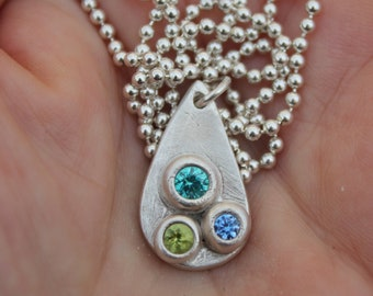 Large silver teardrop necklace with tricolor gemstones handmade in fine silver