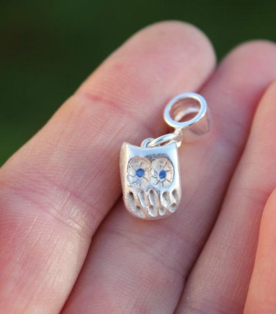 Solid silver owl charm bracelet, whimsical owl, sculpted owl, gemstone owl, amethyst owl, tiny silver owl, owl art, owl miniature