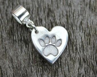 Tiny silver pawprint heart charm, tiny cat paw heart charm, tiny dog paw heart charm, pawprint Pandora heart charm, pet remembrance charm