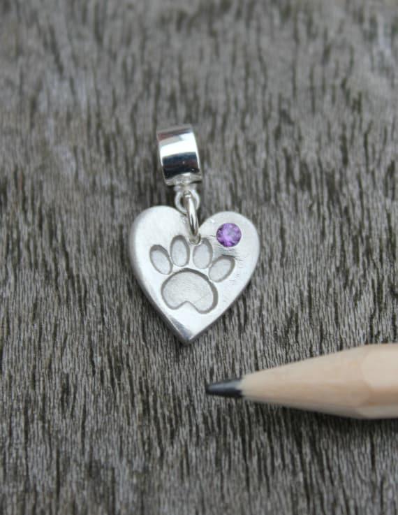 November Birthstone Hand Print Footprint Heart Baby Charm for European Bracelets