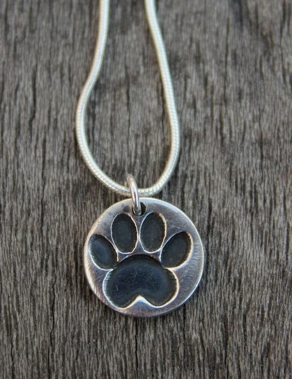 Silver Paw Cavachons: Tiny Silver Paw Print Pendant Tiny Paw Print Necklace
