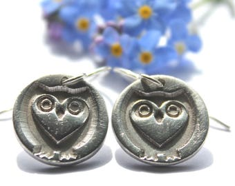 Silver owl earrings, tiny silver owl earrings, silver wildlife earrings, silver wildlife jewellery, british wildlife jewellery