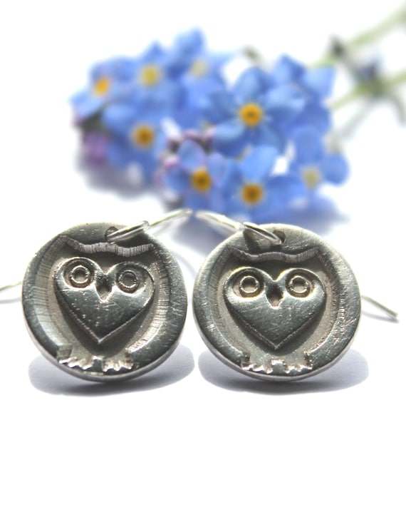 Owl earrings, sterling heart owl earrings, wildlife earrings, owl drop earrings, tawny owl earrings, owl lover earrings, barn owl