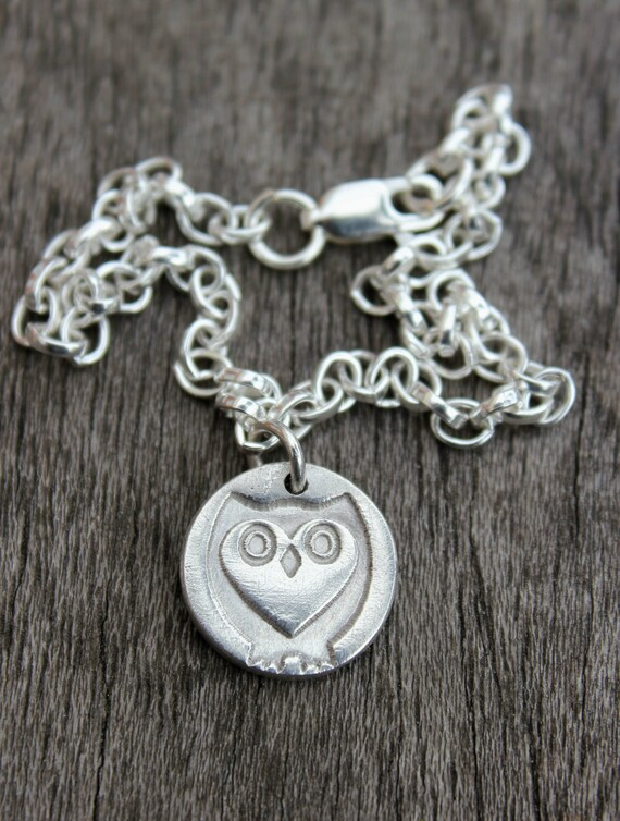 Owl charm bracelet, heart owl bracelet, barn owl jewellery, owl lover gift, steampunk owl, tiny owl bracelet, cute silver owl