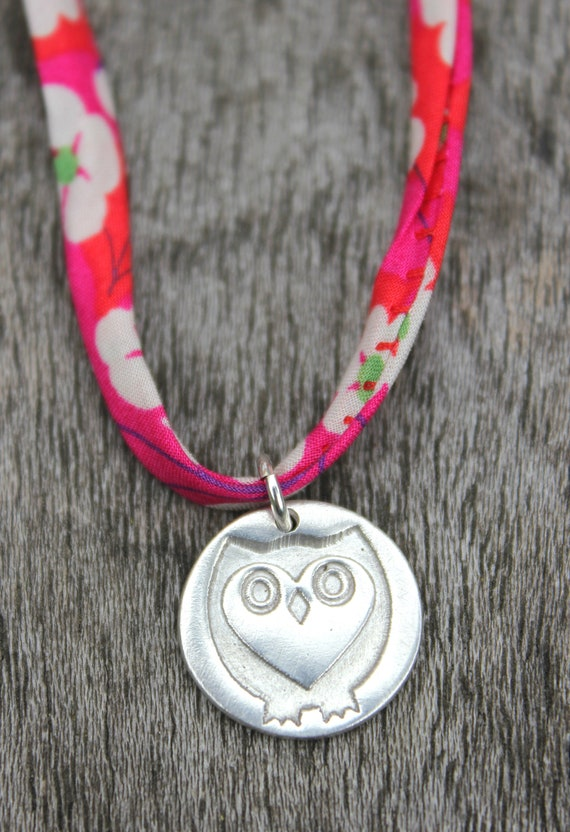Owl graduation pendant, graduation jewellery, graduation gift, liberty ribbon owl pendant, liberty fabric charm necklace, heart owl pendant