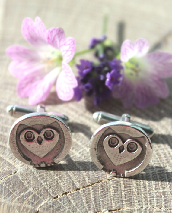 Owl cufflinks, handmade cufflinks, sterling silver owl cufflinks, dad cuff links, silver wildlife cufflinks, steampunk owl, groom cufflinks