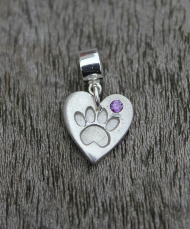 62aa7c8f3 Pandora paw print birthstone charm silver cat charm silver | Etsy