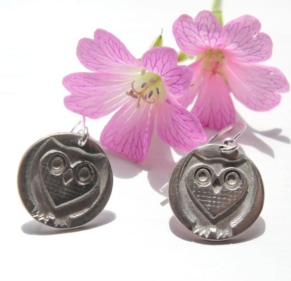 Owl earrings, silver owl earrings, sterling silver owl, silver owl charm, woodland jewellery, forest jewelry