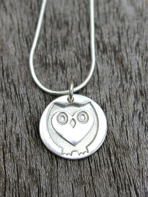 Silver owl necklace, silver owl pendant, silver owl jewellery, woodland pendant, owl anniversary gift, raptor jewellery, tiny owl