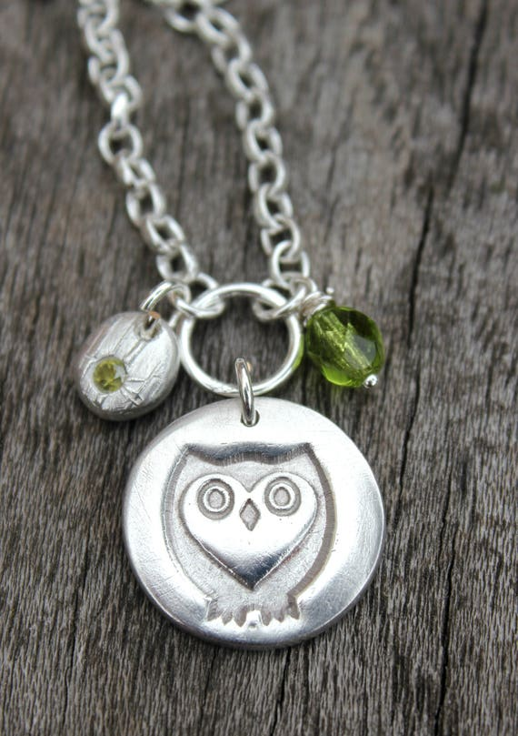 Birthstone owl necklace, gemstone owl pendant, silver owl necklace, owls gifts, gift for graduation, gift for halloween, gift for her