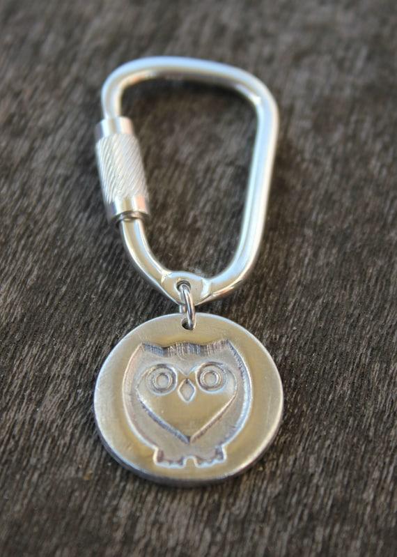 Owl keychain, owl keyring, owl key holder, owl key ring, owl key fob, sterling silver keyring, silver keychain, owl jewelry, owl jewellery