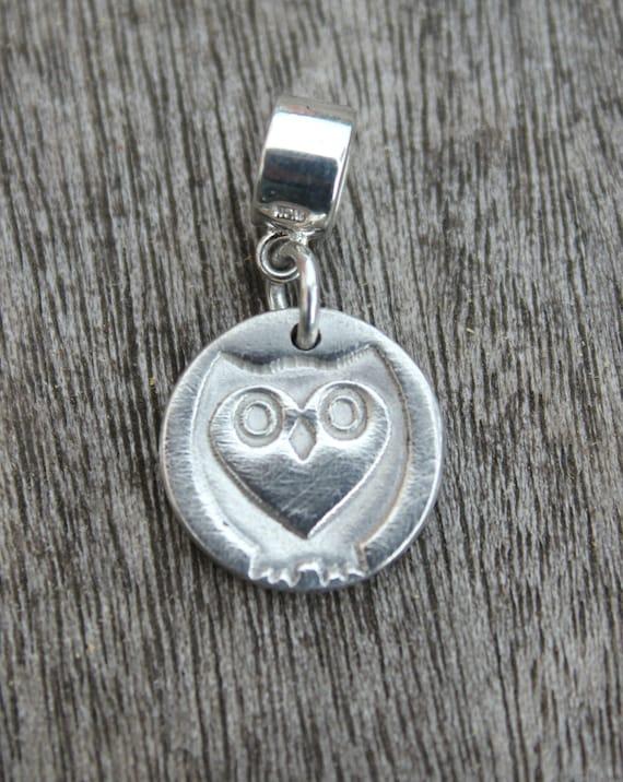 Pandora owl charm, silver owl charm, snake bracelet charms, handmade silver charm, pandora style charms, pandora compatible owl charm