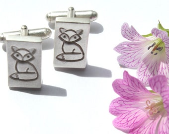 Silver fox cufflinks, handmade cufflinks, sterling silver cufflinks, fox accessories, cufflinks silver, fox cufflinks, fox lover gift