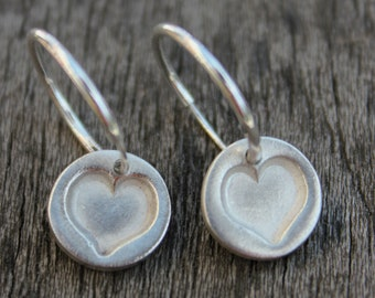 Heart hoop earrings, love heart hoop earrings, silver hoops earrings, silver hearts hoops, small silver hoop earrings, love heart jewelry