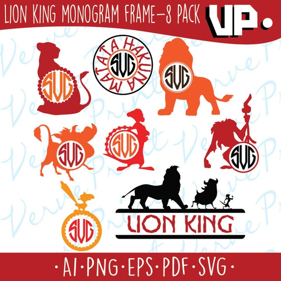 Archivo Svg Rey León Lion King monograma marco Svg Ai Eps | Etsy