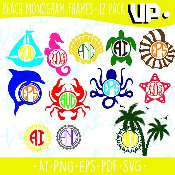 Playa monograma Marcos marcos de monograma de SVG Svg Ai | Etsy