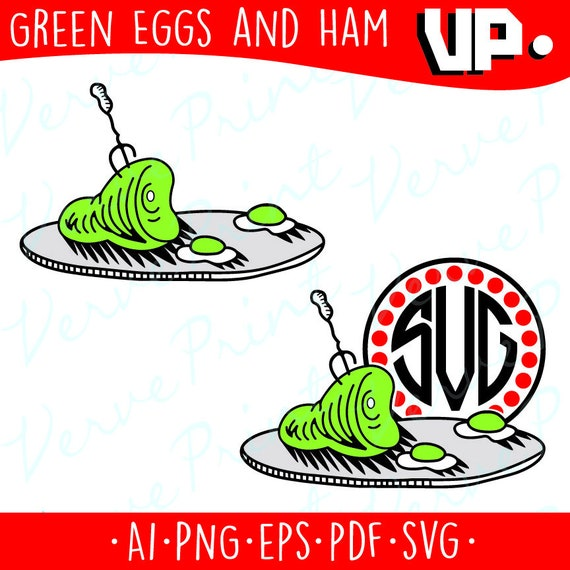 Green Eggs And Ham Monogram Svg Dr Seuss Cat In The Hat