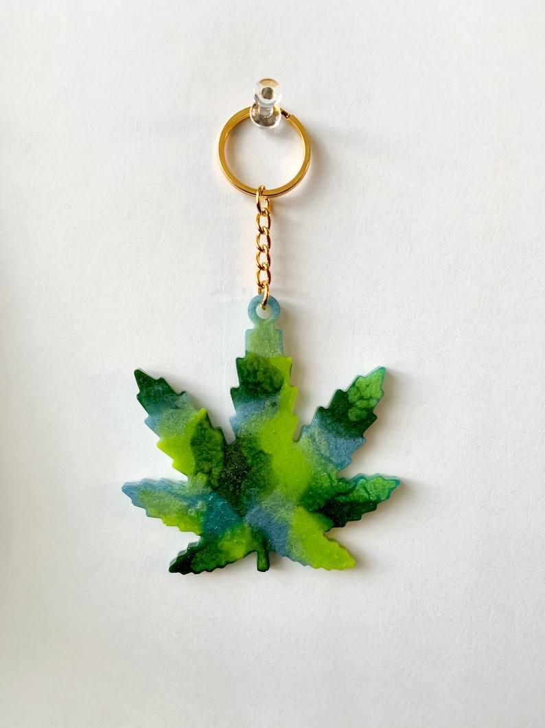 Handmade pot leaf keychain