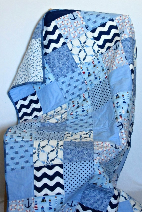 Minky Nautical Gender Neutral Patchwork Baby or Toddler Blanket
