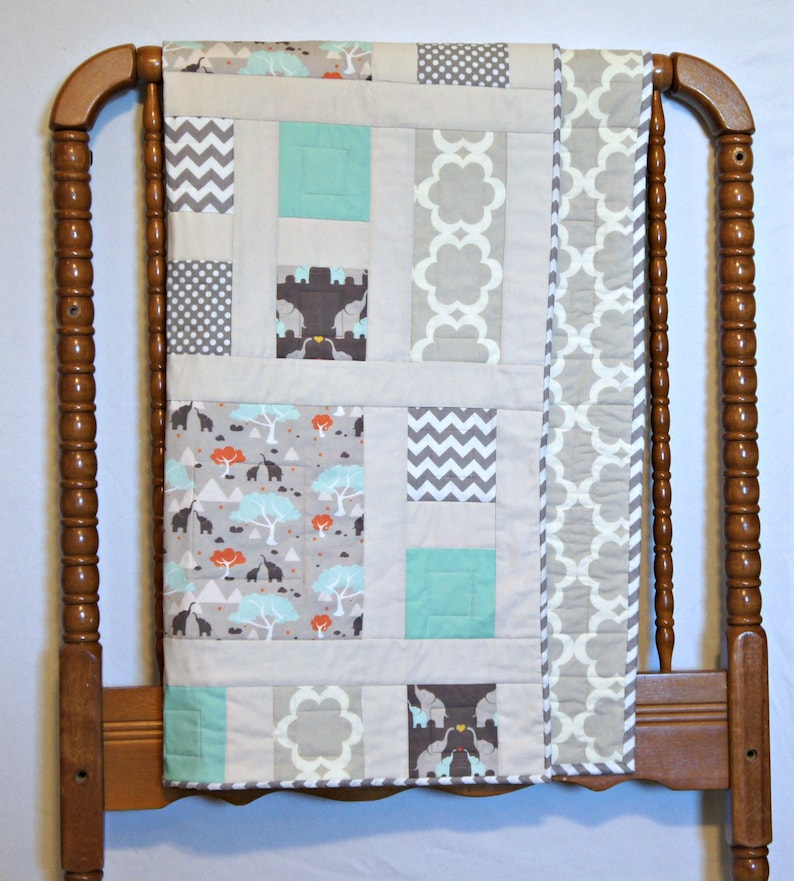 afabe1de02995 Elephant crib quilt/ Modern baby quilt/ Earth tone quilt/ Handmade  quilt/Jungle baby quilt/ Elephant nursery theme/ Taupe beige nursery/