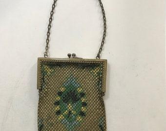 Vintage Mandalian Enameled Mesh Handbag Purse