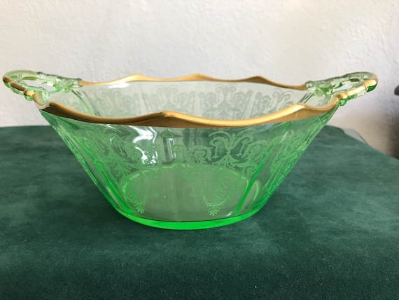 Green Cambridge Depression Glass Bowl Cleo Etched Pattern Etsy