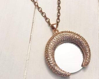 Crescent Copper Mirror Necklace