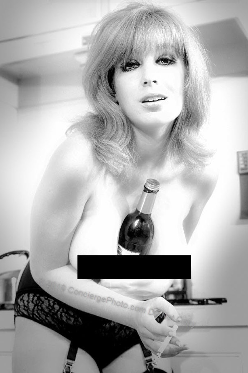 Vintage Mature 1960s Risque Photo 8x12 Custom Original Print - B&W Soft  Sensual with Wine Bottle Smoking Cigarette Garters Stockings Panties