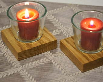 Oak Votive Candle Holder - Two