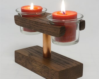 Table Top Double Votive Candle Holder - Oak with Copper