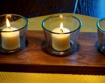 Black Walnut Candle Holder with Three Votive / Tealight Candle Holders