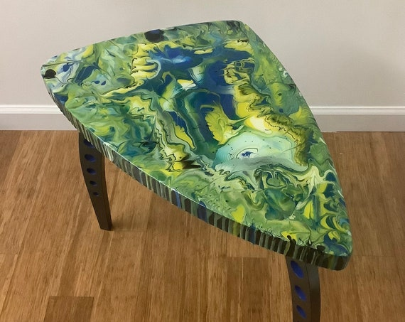 """Accent Table """"Tripod 3"""", Acrylic /Resin on Wood"""