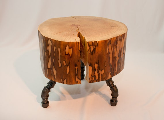 Rustic Log Stool with Pipe Legs
