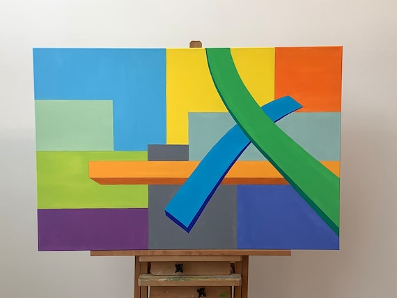 """Original Oil Painting on Canvas, """"Intersection #2"""""""