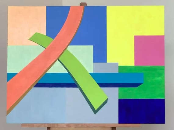 """Original Painting, Acrylic and Oil on Wood Panel, """"Intersection #1"""""""