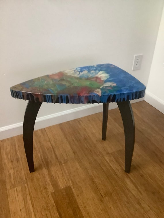 """Accent Table """"Tripod 4"""", Acrylic /Resin on Wood"""