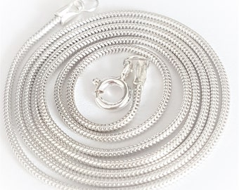 Sterling Silver Chain 14ins to 50ins 1.2mm thickness Diamond cut snake chain elegant simple chain hallmarked