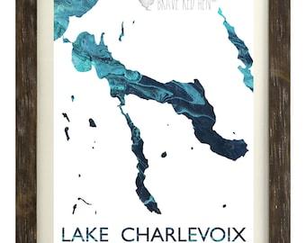 Lake Charlevoix Print, Charlevoix Map, Charlevoix, Lake Map, Michigan, East Jordan, Boyne, Boat, Great Lakes, Nautical, Home Decor