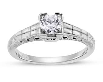 0.42 Ct. Vintage Art Deco Diamond Engagement Ring Etched In Solid 18k White Gold