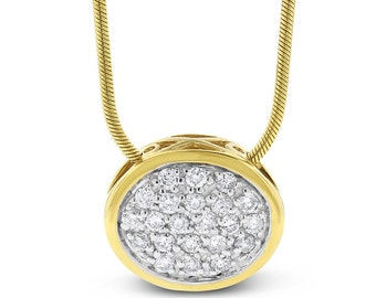 0.66 Ct. Natural Diamond Horizontal Oval Pendant Rope Chain Solid 14k Yellow Gold
