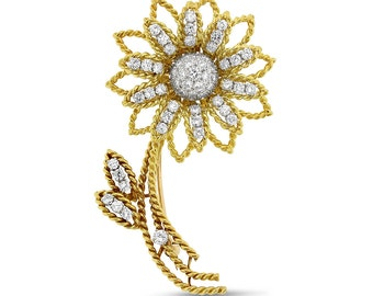 2.00 CT Vintage Natural Diamond Sunflower Pin Brooch in Solid 18k Yellow Gold