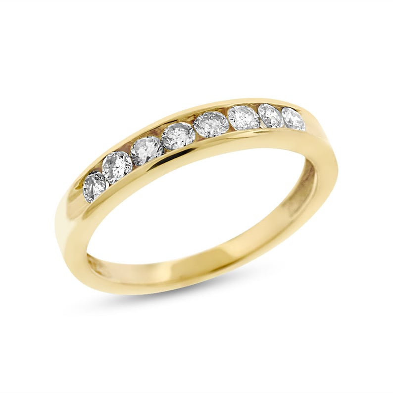 a4824905efacd 0.40 Ct. Genuine Diamond Channel Set Wedding Band In Solid 14k Yellow Gold