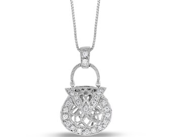 0.20 Ct. Natural Diamond Fashion Purse Handbag Pendant in Solid 14k White Gold