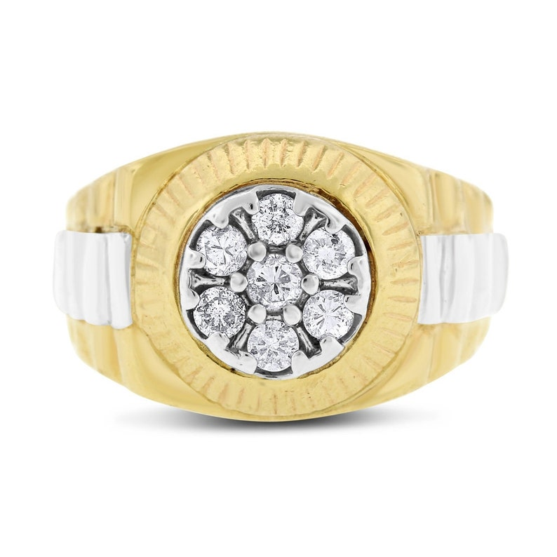 2eb4c0cea38df 0.40 Ct. Natural Diamond Watch Style Men's Ring In Solid 14k Yellow Gold