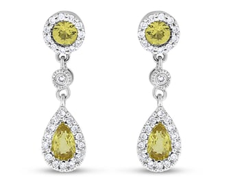 1.25 CT Natural Diamond & Yellow Topaz Drop Earrings in Solid 14k White Gold