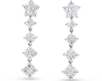 1.32 CT Natural Diamond Dangle Drop Flower Earrings in Solid 18k White Gold