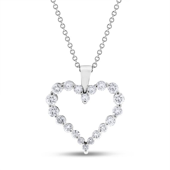 1 CARAT  SOLITAIRE PENDANT NECKLACE WITH CHAIN HEART SHAPE SOLID 14K WHITE GOLD