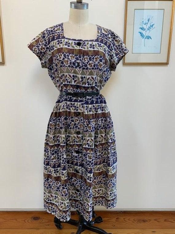 1950's Batik Dress Size L